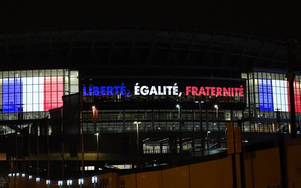 Wembley Stadium in mourning after Paris Attacks, London, Britain - 14 Nov 2015